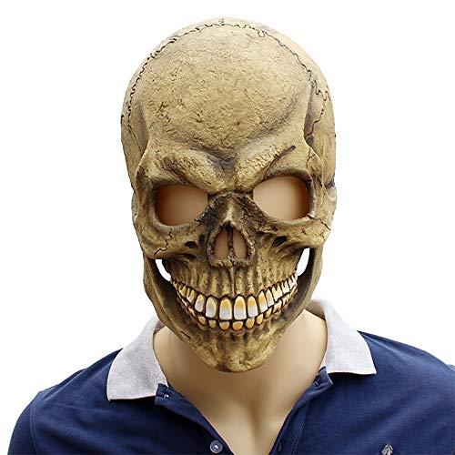 XIAOMAN Schädel Kopf Maske Realistische Latex Gesichtsmaske Halloween Cosplay Kostüm Weihnachtsfeier Rollenspiele Spielzeug ( Color : Beige , Size : One Size )