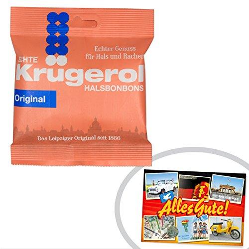 Krügerol Halsbonbons | INKL DDR Geschenkkarte | DDR Produkte| Ideal für jedes DDR Geschenkset | DDR Traditionsprodukt und Ossi Kultprodukt | DDR Artikel