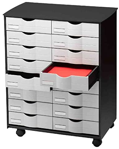 Mobile, 16Drawers on Wheels, Colour: Black/Grey