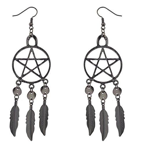 lux-accessori-ematite-punk-pentagramma-orecchini-acchiappasogni-con-piume