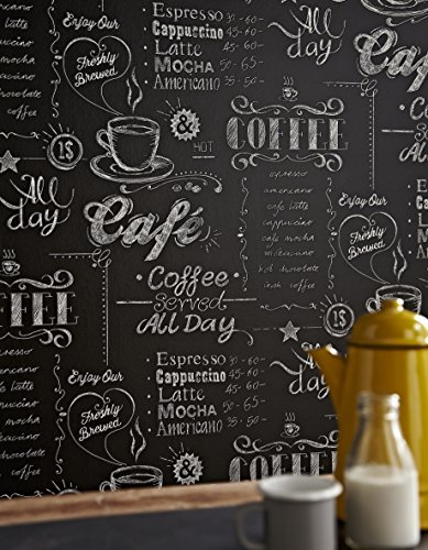 Taza de café negro/blanco papel pintado para pared