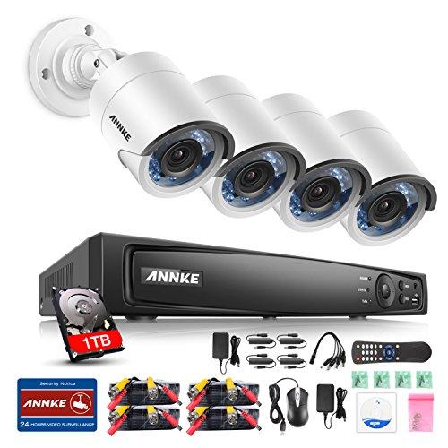ANNKE 4CH 3MP TVI Überwachungskamera Set DVR CCTV Recorder mit 4 x 3MP weiße Kameras für innen und außen Bereich mit eingebaute 1TB Festplatte Nachtsicht bis 30 Meter