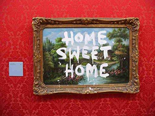 Box Canvas Print (Banksy Home Sweet Home Tag Painting A2 Box Canvas print)