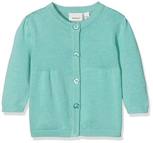 NAME IT Baby-Mädchen Sweatjacke Nbfdea LS Knit Card, Grün (Pool Blue), 86