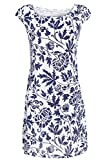 GS-Fashion Leinenkleid Damen Sommer mit Blumen Kleid ärmellos Knielang Weiß 36 (Herstellergröße M)