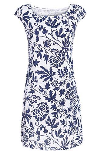 GS-Fashion Leinenkleid Damen Sommer mit Blumen Kleid ärmellos Knielang Weiß 40 (Herstellergröße XL) -