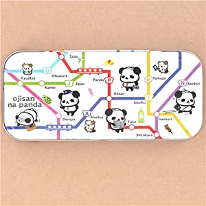 Linda caja de lata estuche lápices metálico gracioso Ojipan mapa tren Japón