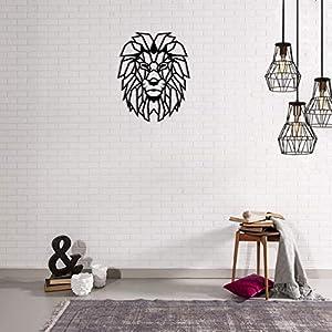 METAL DECOR-decoro Wand geometrisches Design in Metall Lion. Schwarz.