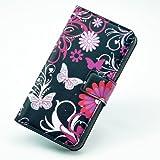 PowerQ [ para Sony L36h Xperia Z - Black Butterfly ] PU Funda Serie bolsa Modelo colorido con bonito hermoso patrón de impresión Impresión Dibujo monedero de la cartera de la cubierta móvil del bolso del teléfono móvil del Proteja la piel con la Caja del sostenedor del soporte Case Cover Caso