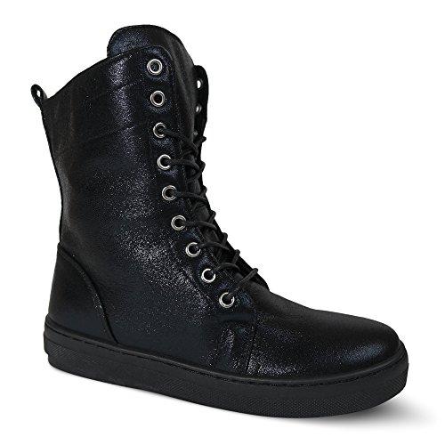 Damen Sneakers High Top Turnschuhe Boots Schnürboots ST601 Schwarz