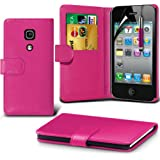 (Hot Pink) Apple iPhone 4/4S Schutzfolie Faux Credit / Debit Card Leder Book Style Tasche Skin Case Hülle Cover, Aus- und einfahrbarem Touch Screen Stylus Pen & LCD Screen Protector Guard von Spyrox