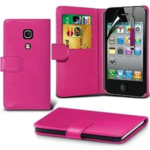(Hot Pink) Apple iPhone 4/4S Schutzfolie Faux Credit / Debit Card Leder Book Style Tasche Skin Case Hülle Cover, Aus- und einfahrbarem Touch Screen Stylus Pen & LCD Screen Protector Guard von Spyrox