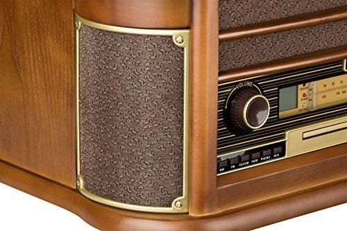 Roadstar HIF-1990 Retro Stereo-Anlage mit Plattenspieler, Kassette, CD-Player und Radio (UKW / MW, CD / MP3, USB, beleuchtetes LCD-Display, Fernbedienung, 40 Watt Musikleistung), braun - 6
