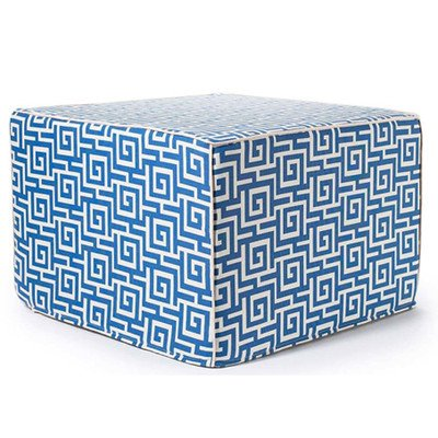 Jiti Puzzle Outdoor Square Polyester Ottoman, 22 by 22 by 15-Inch, Blue