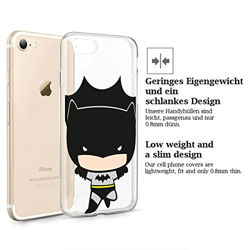 finoo | iPhone 8 Weiche flexible Silikon-Handy-Hülle | Transparente TPU Cover Schale mit Motiv | Tasche Case Etui mit Ultra Slim Rundum-schutz |Flash logo Batman chibi flying