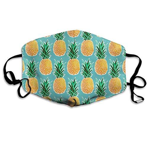 HUSDFS Mouth Masks Golden Pineapple Pattern Unisex Face Mask Ear-loop Dustproof Mask Cycling Reusable Mask