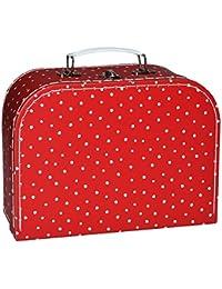 Kinderkoffer in 3 Größen ! - rot weiß gepunktet Punkte / Polka Dots - Pappkoffer - Puppenkoffer Koffer Kinder Pappe Karton - ideal für Spielzeug und als Geldgeschenk