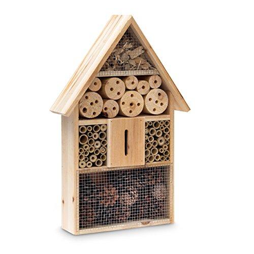 #Relaxdays Insektenhotel HBT 48 x 31 x 10 cm Bienenhotel aus Naturmaterialien als Unterschlupf für Käfer, Bienen, Wespen und Schmetterlinge Insektenhaus aus Holz mit Spitzdach, natur#
