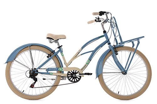 KS Cycling Damen Beachcruiser Cargo Cruiser Kahuna Fahrrad, Blau, 26 Zoll