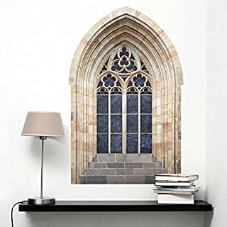 Adesiviamo® 3d Gothic Window 3d Gothic Window Wall Sticker Large Colored