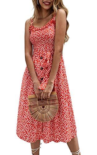 2fa23cc13e3bf9 SPec4Y Damen Kleid Swing Sommerkleid Volltonfarbe Spaghettiträger  Strandkleid A-line Partykleid