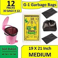 G-1 360 pcs 19 X 21 Medium Black Disposable Garbage Trash Waste Dustbin Bags of 54cm x 48cm