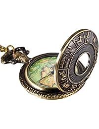 Mudder 12 Constelación cubierta mapa antiguo reloj de bronce