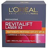 L'Oréal Paris Revitalift Laser X3 Crema Viso Antirughe Anti-Età con Acido Ialuronico e Pro-Xylane di Giorno, Protezione SPF 20, 50 ml