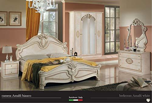Nachttisch Kommode Spiegel (LIGNEMEUBLE Amalfi Lack, elfenbeinfarben, Schlafzimmer: Set mit Schrank 4 Türen + Bett 160/200 + 2 Nachttische + Kommode 3 Schubladen + Spiegel)