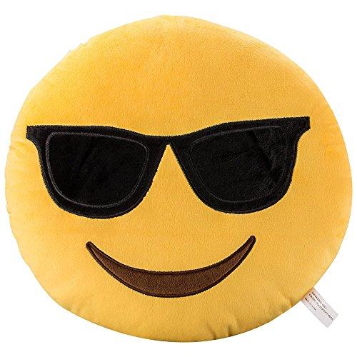Cool sunglasses faccina emoji morbido farcito cuscino peluche - 35x35x8cm grande emoticon ripiene cuscino - giocattolo regalo per ragazzi & ragazze & bambini | perfetti per decorare