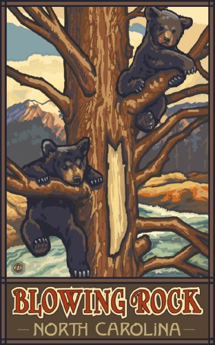 Northwest Art Mall Blowing Rock North Carolina Two Bear Cubs Gemälde von Paul A Lanquist, 28 x 43 cm