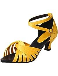 AIYOUMEI Damen Peeptoe Blockabsatz Sandalen mit Knöchelriemchen Schuhe  Satin Sandaletten mit Kleinem Absatz 22266aad10