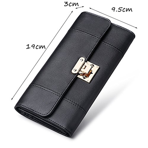 CLOTHES- Lady Wallet Europe e il portafoglio multifunzionale del sacchetto di mano del raccoglitore del cuoio lungo degli Stati Uniti ( Colore : Grigio ) Nero