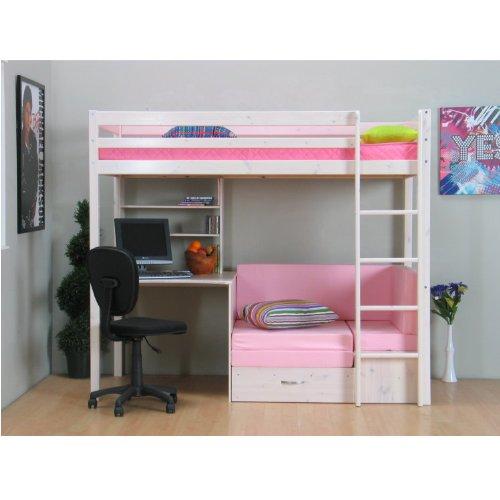 Thuka Hochbett 90×200 Kiefer massiv Bett Kinderbett Gästebett Schreibtisch
