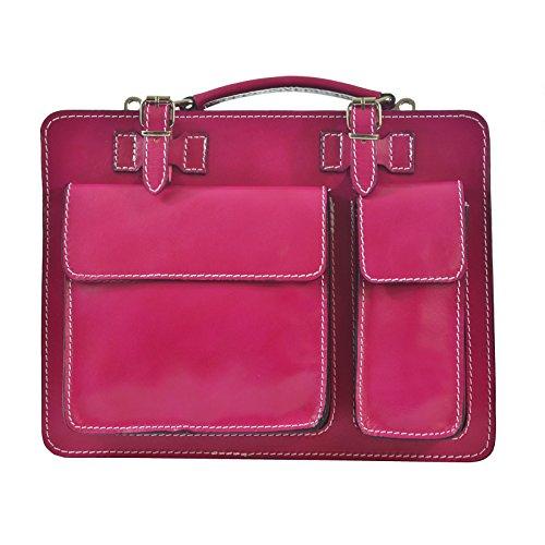 CTM Unisex Business Tasche, Aktentasche, Organizer in italienischem Leder Made in Italy D7006 - 35x25x12 Cm (Rosa Leder Aktentasche)