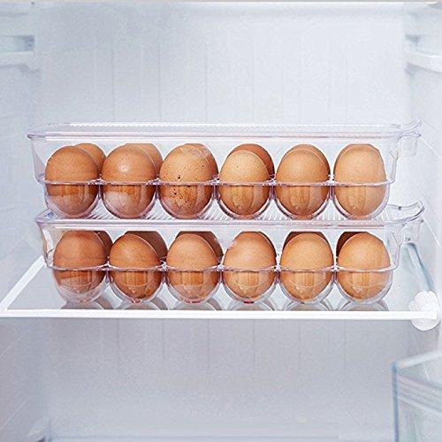MineSpace Huevo Soporte Nevera Caja de Almacenamiento para Huevos Bandeja con Tapa Organizador de Utensilios de Cocina 24 huevos transparente