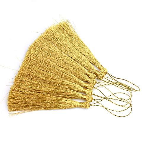 15 borlas hilo seda 13 cm color dorado plateado, decoración