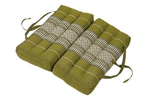 Faltbares Sitzkissen 40x40 als Auflage, Meditationskissen oder Stadionkissen Thaikissen für Unterwegs Entspannung Yoga Meditation grün