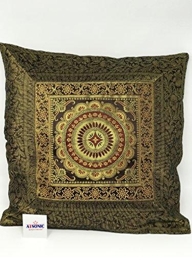 A1Sonic - Funda de cojín de seda decorativa con bordado de mano étnico indio de calidad para menos indio, tamaño 40 x 40 cm