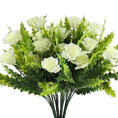 MOBDY Gefälschte Blume Künstliche Blumen Im Freien Gefälschte Büsche Sträucher Aquarienpflanzen Kunststoff Grün Herzstück für Hängenden Korb Vase Garten Wohnzimmer Topf Weiß 4 stücke