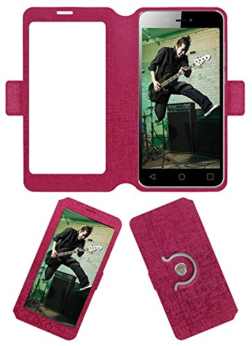 Acm SVIEW Window Designer Rotating Flip Flap Case for Micromax Canvas Spark 3 Q385 Mobile Smart View Cover Stand Pink