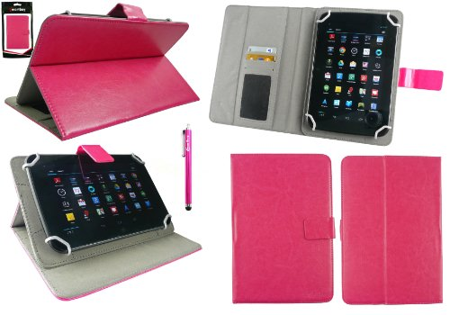 Emartbuy® Hot Rosa Eingabestift + Universalbereich Hot Rosa Multi Winkel Folio Executive Wallet Tasche Etui Hülle Case Cover mit Kartensteckplätze Geeignet für I.onik TP - 1200QC 7.85 Inch Tablet