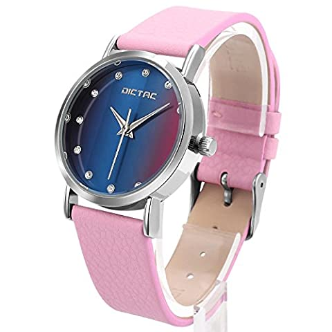 Dictac Wristwatch Lady Analog Quartz Blue Dial and Pink Leather Strap Round Watch