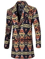 MNBS Moda geométrica de lana chaquetas de invierno patrón del ajuste delgado largo abrigo rompevientos hombre