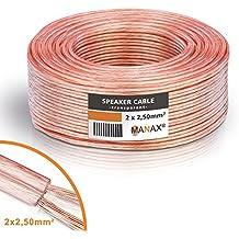 Manax - Cable de altavoz (2 x 2,5 mm², transparente, anillo de 50 m)