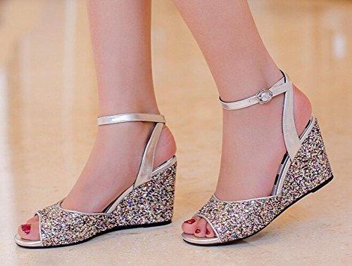 Beauqueen Wedge Open-Toe Pumps Knöchelriemen Casual Work Sandalen Frauen Elegant Blau Silber Europa Größe 34-39 Silver