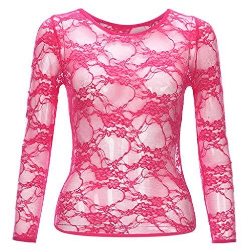 Womens Lace Tee Tops Langarm Shirt Tops O-Ausschnitt Floral T Shirts Kausale Blusen -