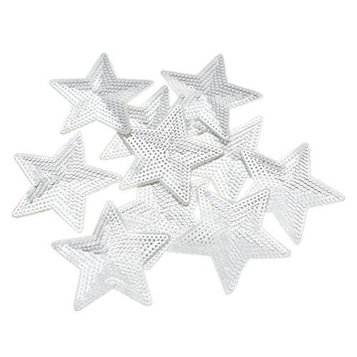 Kesheng 10pcs Parche Lentejuelas Forma Estrella Diámetro