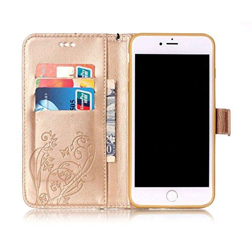 Briller Cristal Strass iPhone 7 Plus Coque Or, étui Apple iPhone 7 Plus 5.5 pouce, Rabat Style Cuir Case Portefeuille Case Carte Titulaire Fleur Motif Embossage Or