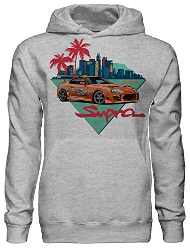 Legendary JDM Hero orange Toyota Supra Fan Artwork Unisex Pullover Hoodie with Pockets - Ring Spun Cotton Hooded Sweatshirt - Soft and Warm Inside - DTG Printed